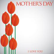 Mother's Day tulip card in vector format. - stock illustration