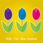 Portuguese tulip Mother's Day card in vector format. - stock illustration