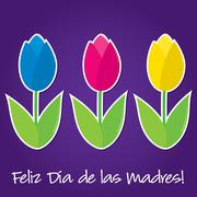 Spanish tulip Mother's Day card in vector format. - stock illustration