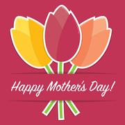 Tulip Mother's Day card in vector format. - stock illustration