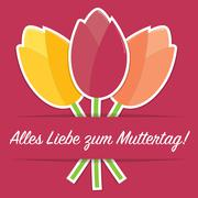German tulip Mother's Day card in vector format. - stock illustration