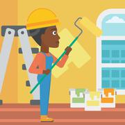 Painter with paint roller Stock Illustration