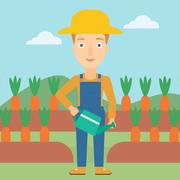 Farmer with watering can - stock illustration
