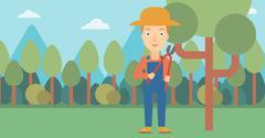 Farmer with pruner in garden - stock illustration