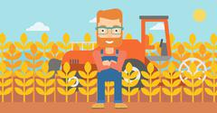 Man standing with combine on background - stock illustration