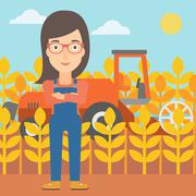 Woman standing with combine on background Stock Illustration