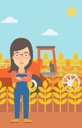 Woman standing with combine on background - stock illustration