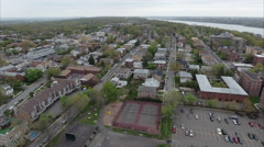 Fort Lee & Englewood Cliffs Fly Forward View Of Buildings Viewing A Parking Lot Stock Footage