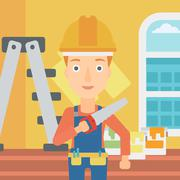 Smiling worker with saw - stock illustration