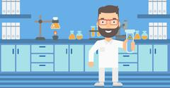Laboratory assistant with test tube Stock Illustration