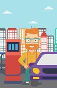 Man filling up fuel into car - stock illustration