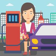 Woman filling up fuel into car - stock illustration