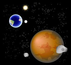 Abstract background with Mars, its satellites, earth, moon and sun. EPS10 vector - stock illustration