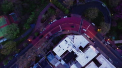Aerial Over Head Shot Of NJ Road Then Fly Backwards To See NYC Skyline Stock Footage