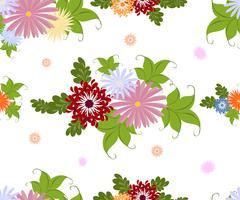 Seamless colorful flower pattern on white background. EPS10 vector illustration - stock illustration