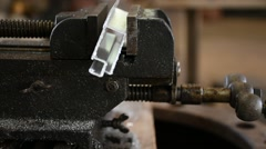 Bench vise tool and stainless - stock footage