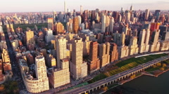 NYC Aerial Shot Of Upper Westside With Empire State In Background - stock footage