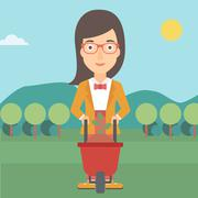Woman with plant and wheelbarrow - stock illustration