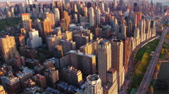 NYC Aerial Shot, Fly Out Panning Right Of Upper Westside Stock Footage