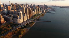 NYC Aerial Shot, Flying Towards Upper Westside With Henry Hudson Pkwy Stock Footage
