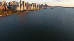 NYC Aerial Shot, Slow Ascension Towards Upper Westside  Stock Footage