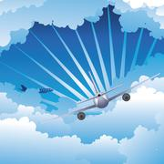 Airplane in the Sky - stock illustration