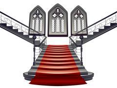 Gothic Stairs Interior Stock Illustration