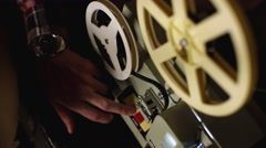 Old film projector works - stock footage