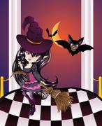Halloween Witch on Balcony Stock Illustration