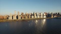 NYC Aerial Shot Of Upper Westside Stock Footage