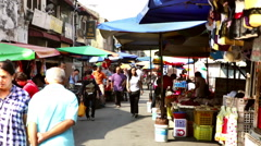 Penang morning street market Stock Footage