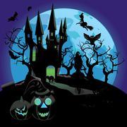 Haunted Halloween Castle - stock illustration
