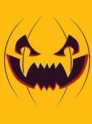 Scary Pumpkin Face - stock illustration
