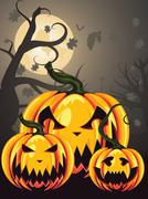 Scary Pumpkins in Forest - stock illustration