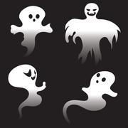 Simple Spooky Ghosts - stock illustration