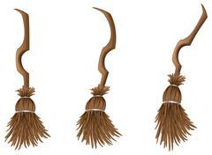 Stylish broom - stock illustration