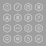 white line web icon set with hexagon frame - stock illustration