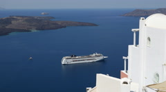 Greece Santorini cruise ship seen from Fira Stock Footage