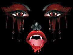 Vampire Makeup - stock illustration