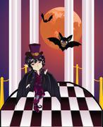 Vampire on Balcony - stock illustration
