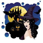 Witch and Bats Stock Illustration
