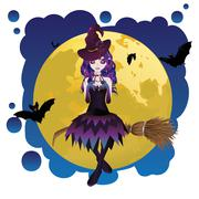 Witch and Full Moon - stock illustration