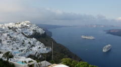 Greece Santorini Fira with ships in morning Stock Footage