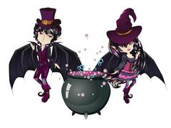 Witch and Vampire - stock illustration