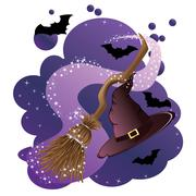 Witch broom and hat Stock Illustration
