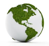 White globe with continents covered with grass - stock illustration