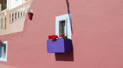 Greece Santorini window with window box Stock Footage