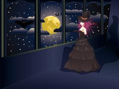 Witch on Balcony Stock Illustration