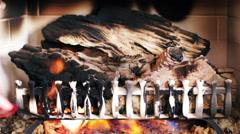 Woman Lights Gas Fireplace Stock Footage