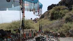Greece Santorini tourists and souvenir stand - stock footage